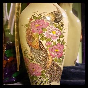 Gilded Peacock Vase